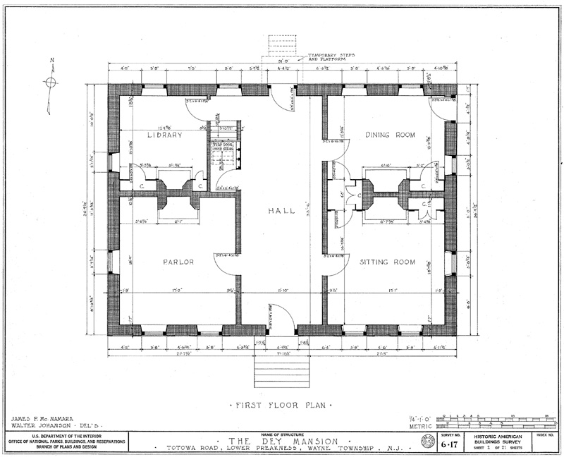 First Floor Plan Of Dey Mansion In Wayne New Jersey